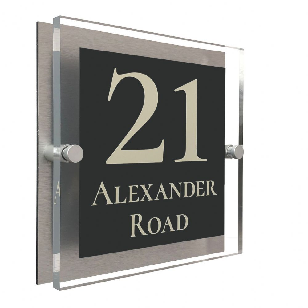 Block Shape - Clear Acrylic House Sign - Anthracite Colour with Double Cream text in Font  2